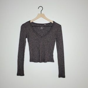 Free People Ribbed Cropped Long Sleeve / S